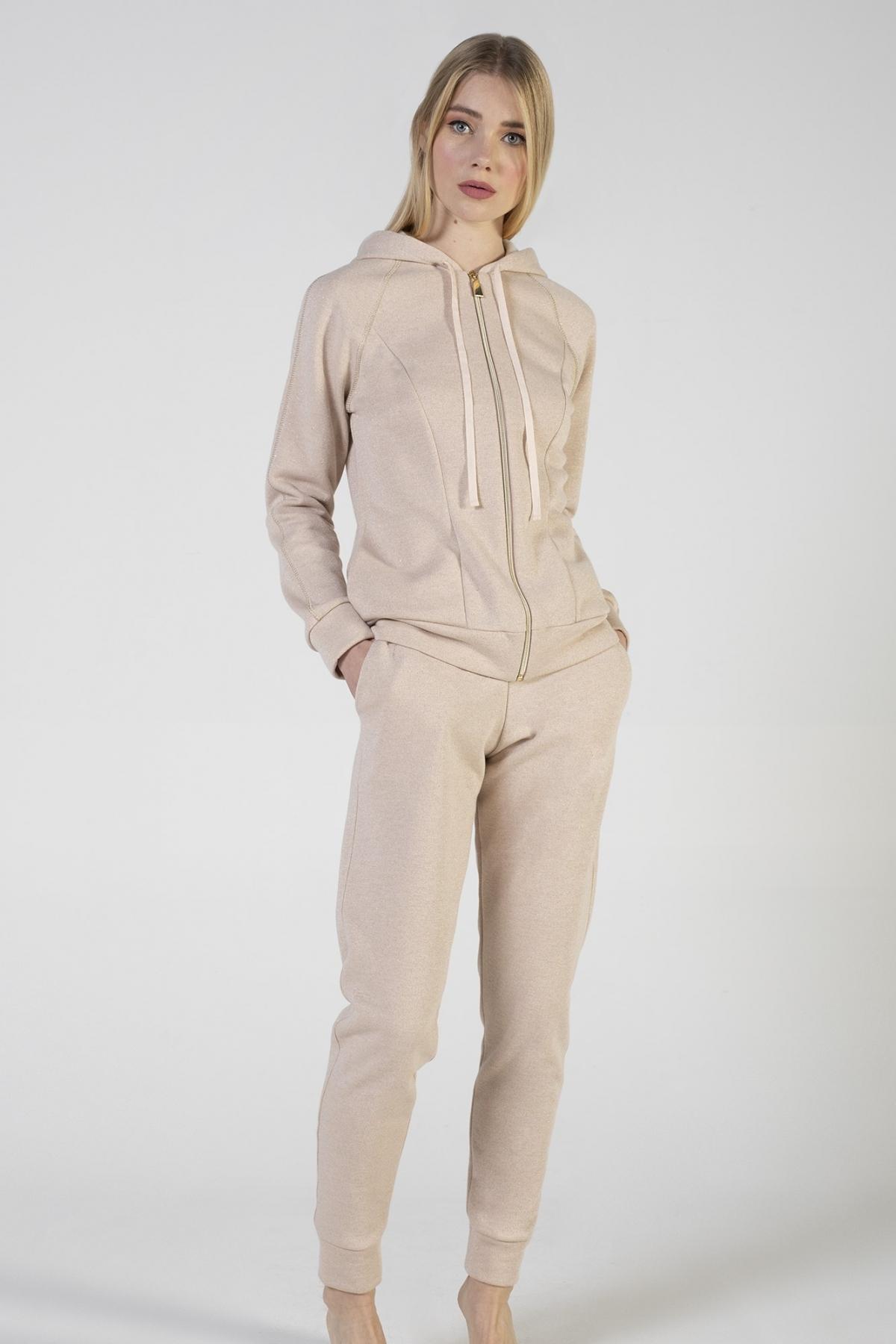 Tuta felpa Lurex con cappuccio e tasche laterali, pantalone con tasche laterali e polso verdiani donna