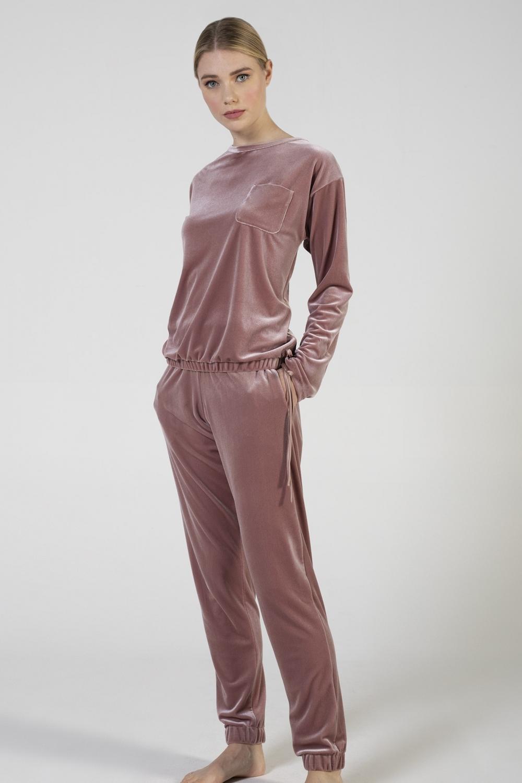 Tuta in velluto con taschino, pantalone con polso elastico e tasche laterali verdiani donna