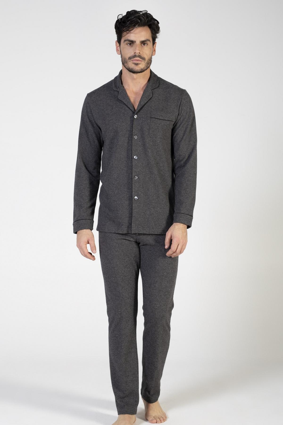 Pigiama Classico in maglia misto cotone jacquard con taschino verdiani uomo