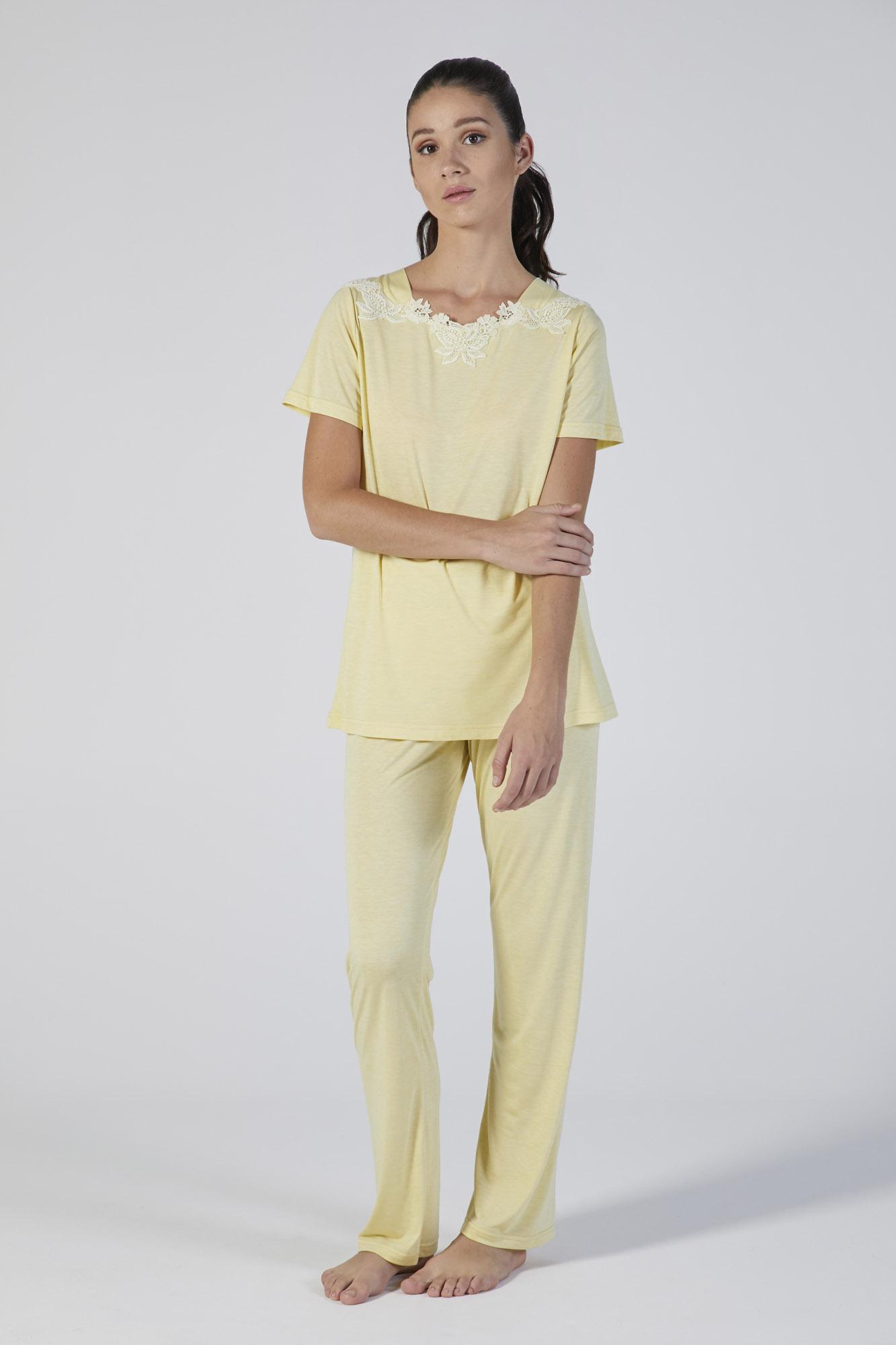 pigiama modal manica corta con pizzo verdiani donna