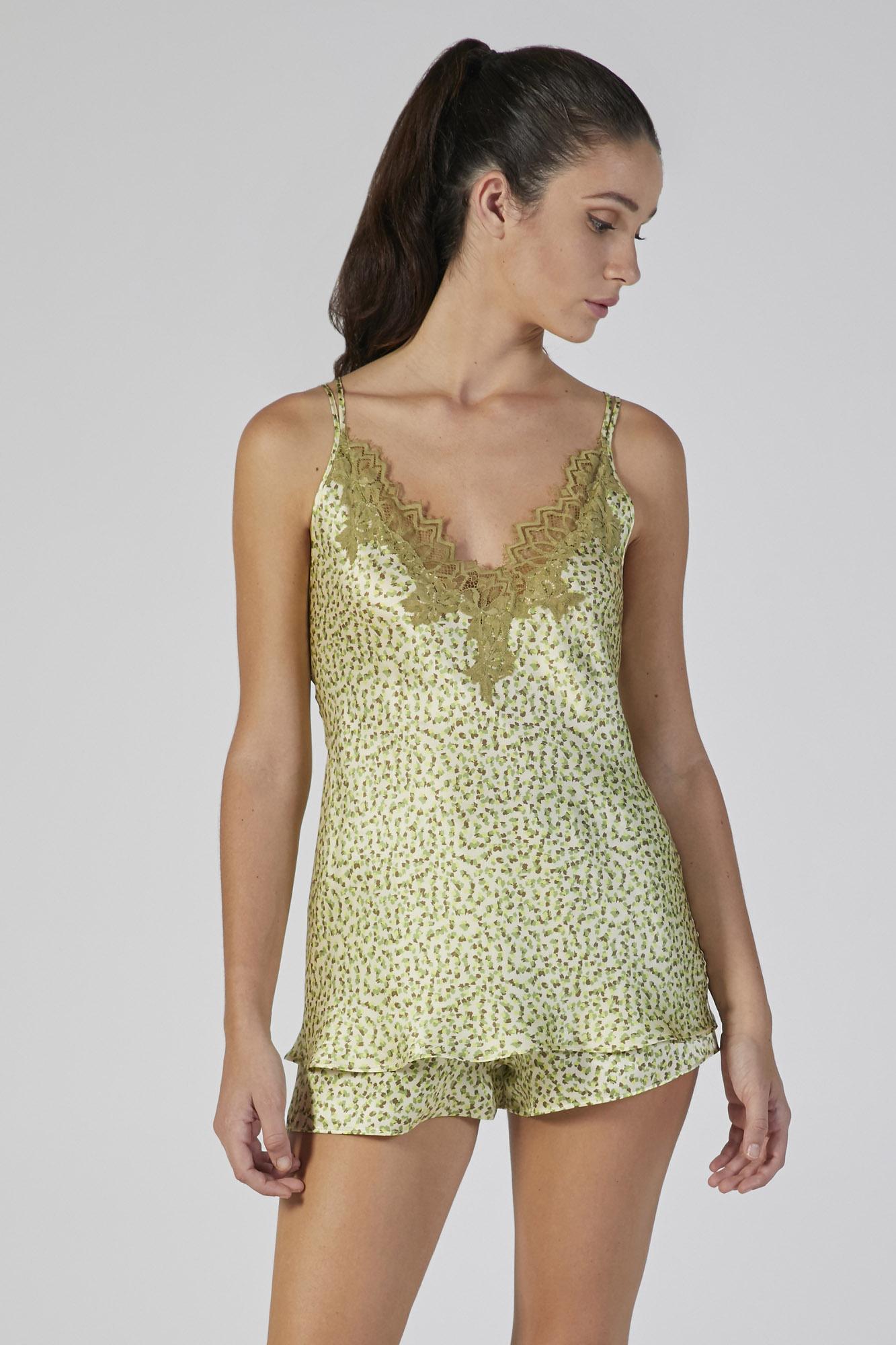 top+shorts seta stampa con pizzo verdiani donna