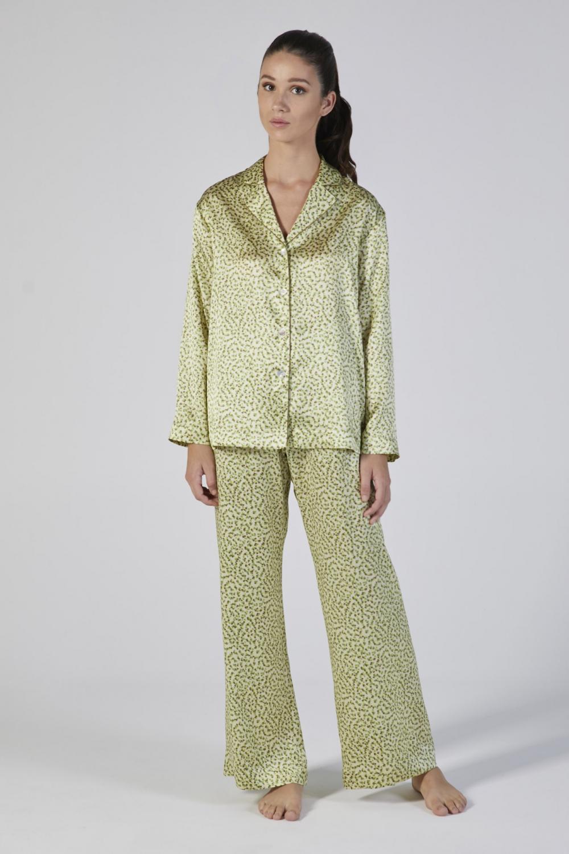 pigiama seta stampata manica lunga verdiani donna