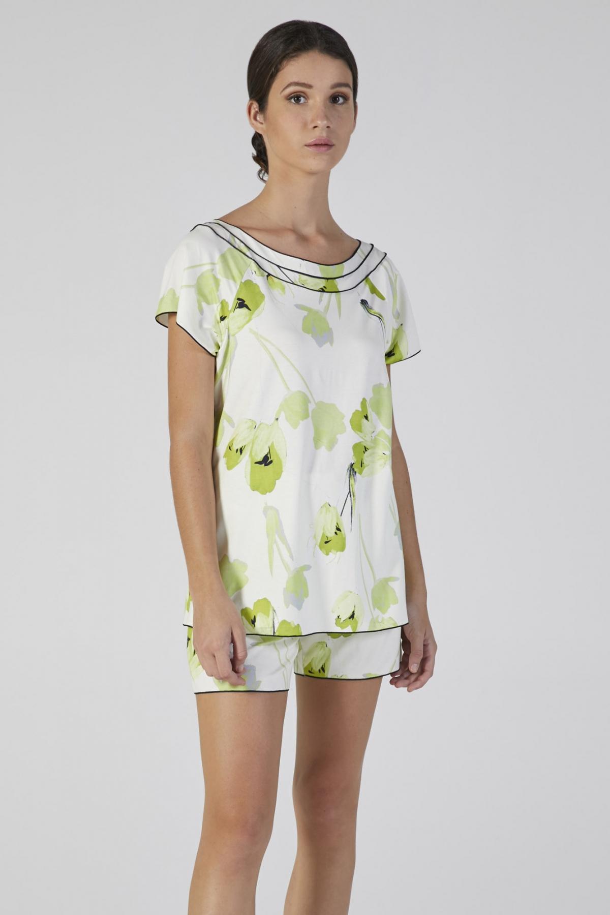 pigiama manica corta stampa fiore verdiani donna