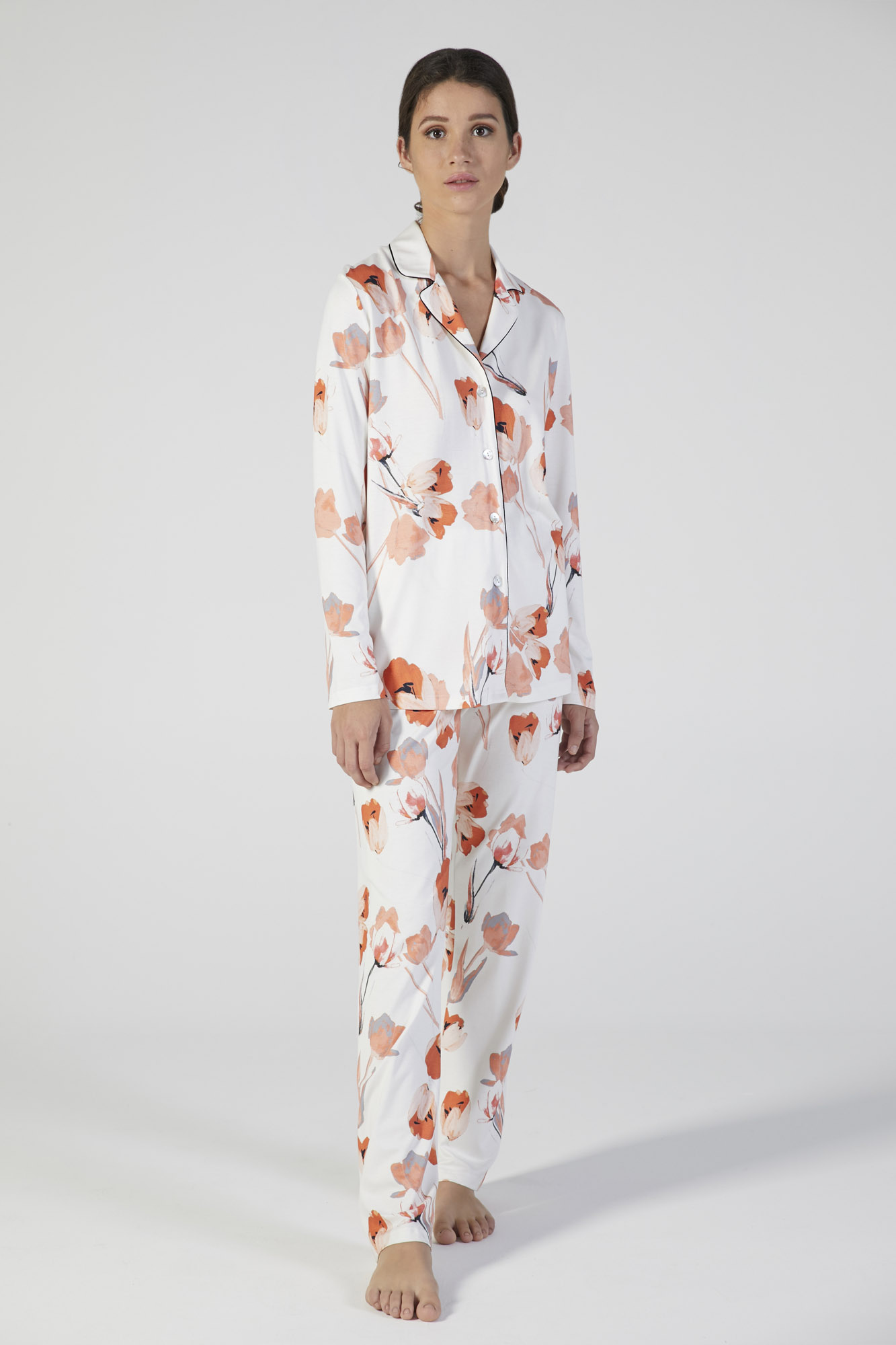 pigiama classico manica lunga stampa fiore verdiani donna