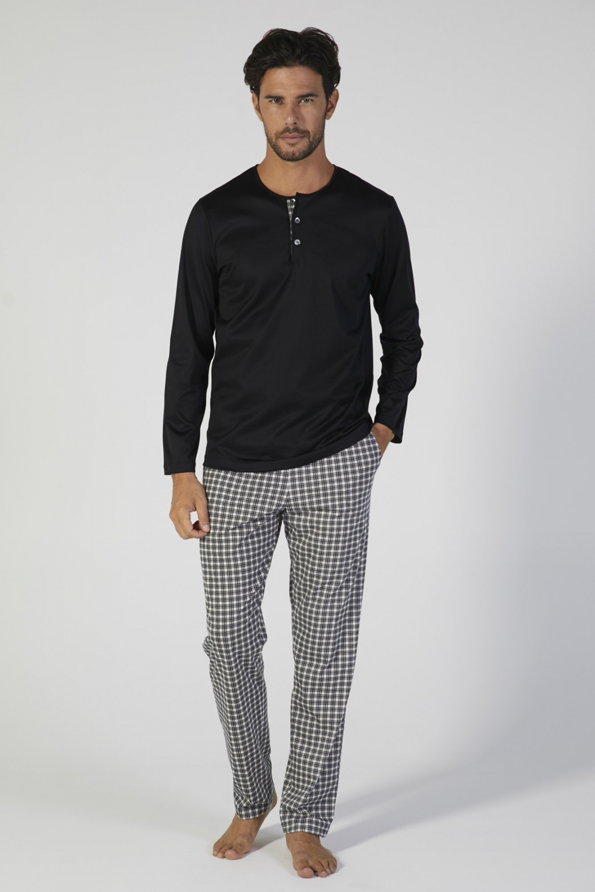 pigiama uomo jersey cotone manica lunga verdiani