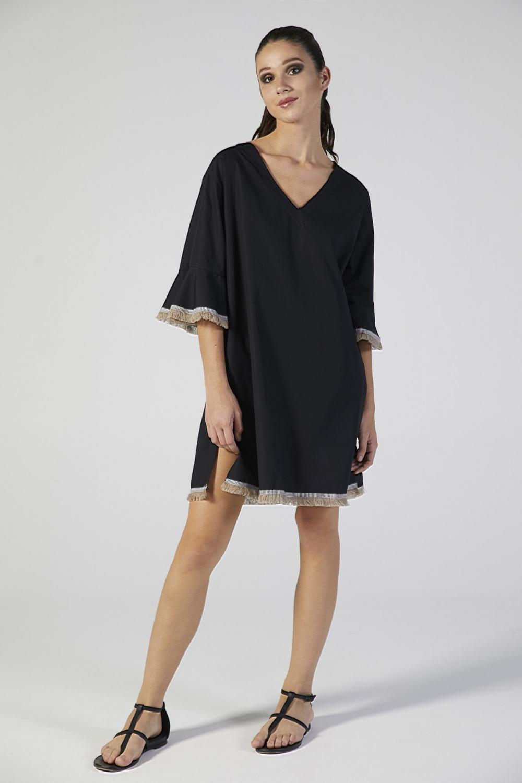 abito copricostume nero manica corta verdiani donna loungewear
