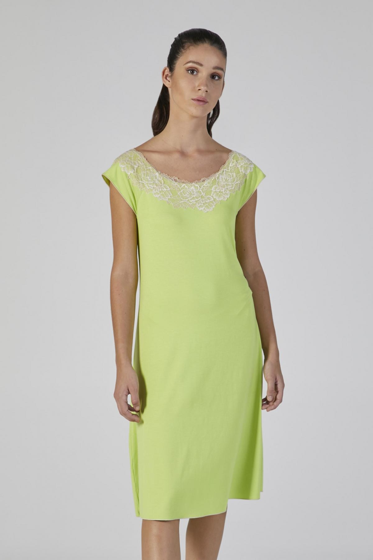 camicia modal verde con pizzo manica corta verdiani donna
