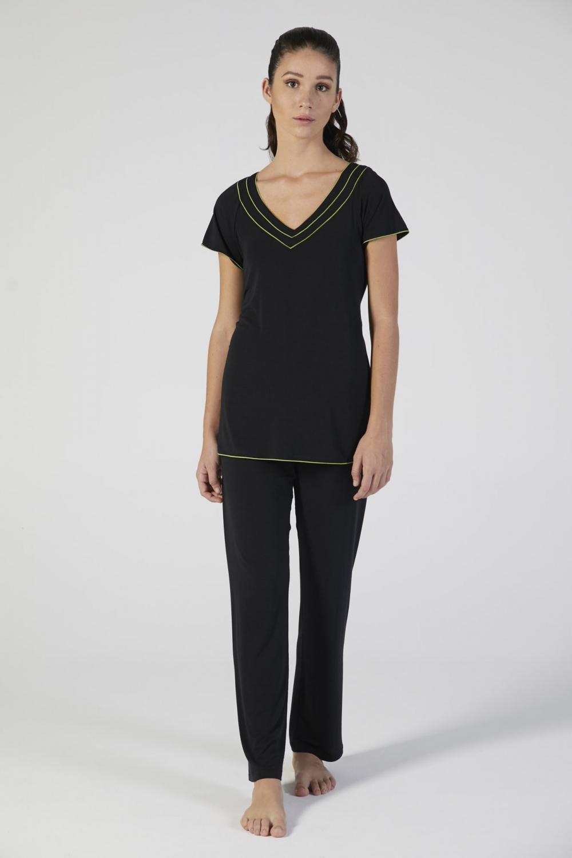 pigiama donna nero modal manica corta verdiani